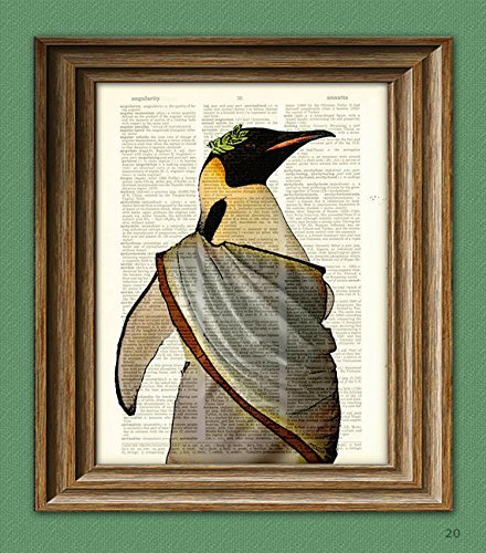 ROMAN EMPEROR PENGUIN with laurel leaf crown and toga illustration beautifully upcycled dictionary page book art print -