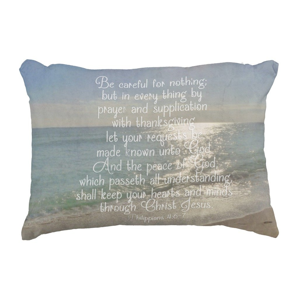 Zazzle Philippians 4:13 Peace Bible Verse Beach Christian Accent Pillow by Zazzle