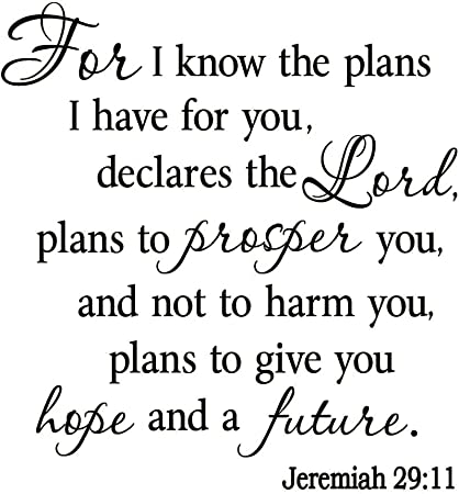 VWAQ VWAQ-1926B Know The Plans I Have for You, Jeremiah 29:11, Bible Wall Decal #2