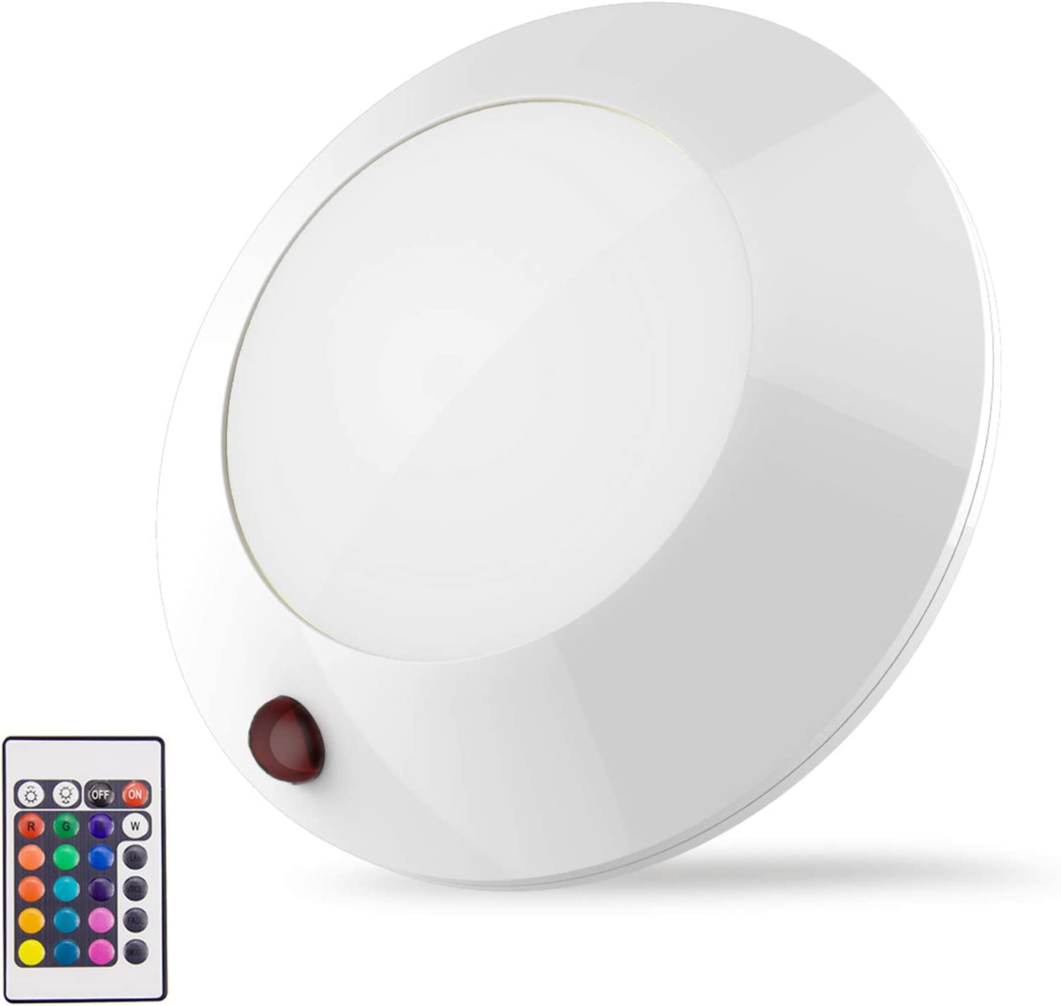 BIGLIGHT Battery Operated LED Ceiling Light Indoor Outdoor, Color Changing Lights, Remote Controlled, Wireless Light for Hallway Shower Shed Closet Hall Corridor Bedroom Bathroom Mood Lighting, 5 Inch - -