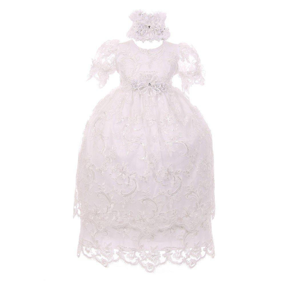 Rainkids Baby Girls White Shantung Headband 3 Pc Christening Dress Set 12M