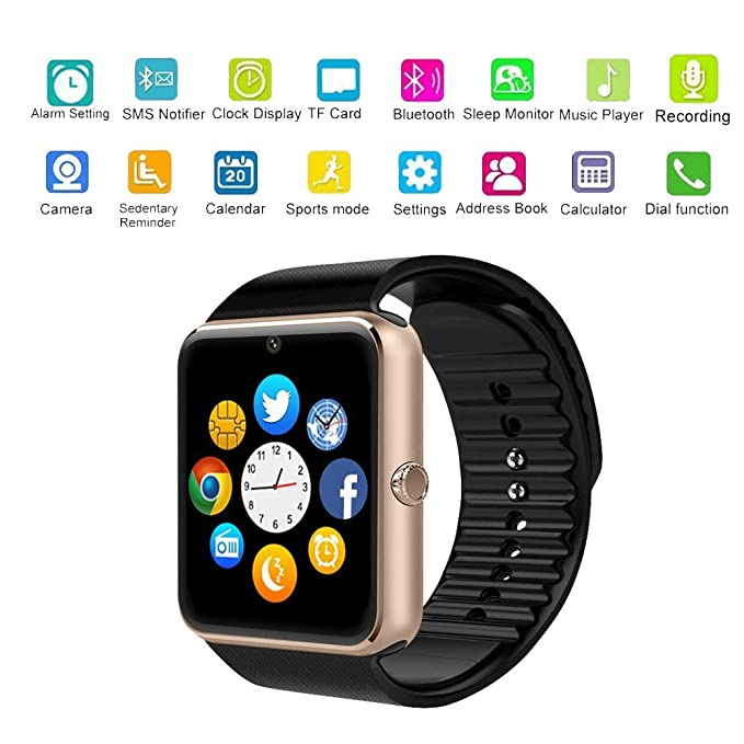Amazon.com: Hangang GT08 Blue Tooth Smart Watch Support SIM ...