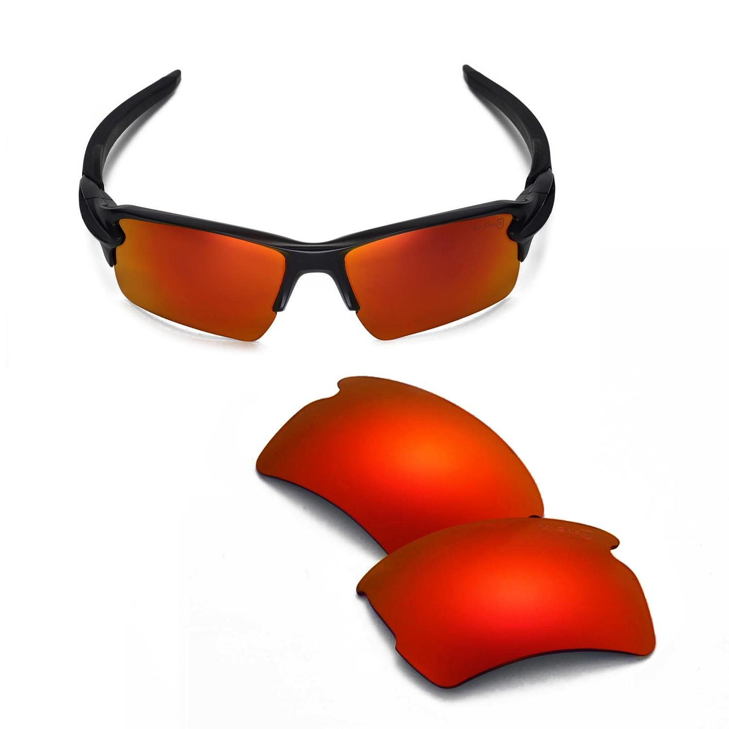 Walleva Replacement Lenses For Oakley Flak 2.0 XL Sunglasses - 14 Options Available (Fire Red - Mr. Shield Polarized)