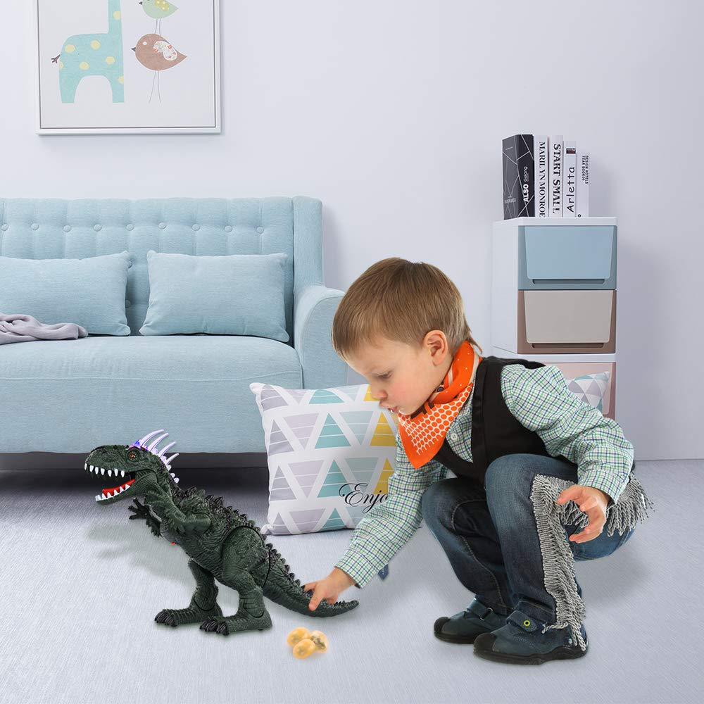 TEMI Electronic Walking Dinosaur LED Light Up Toys for Kids Boys Girls, Jurassic Green Tyrannosaurus T Rex Battery Powered Velociraptor Dragon Model w/ Sounds and Projection Lights, Laying Eggs by TEMI (Image #6)
