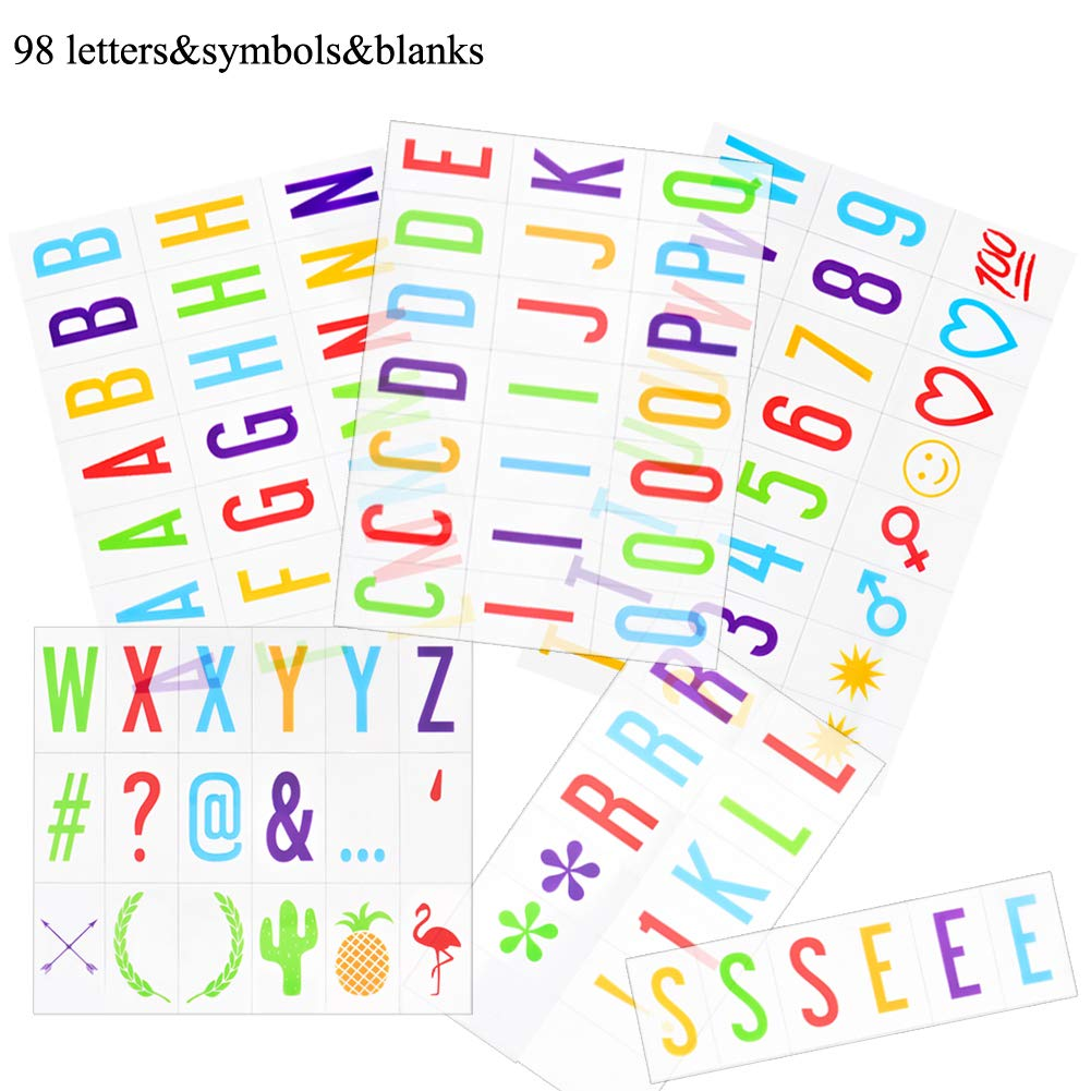 Wuddi Removable Colorful Cute Light Box Cards 98 Numbers, Symbols, Punctuation Tiles with 2 Blank Tiles for A4 Size LED Marquee Cinema Letter Sign Alphabet Box