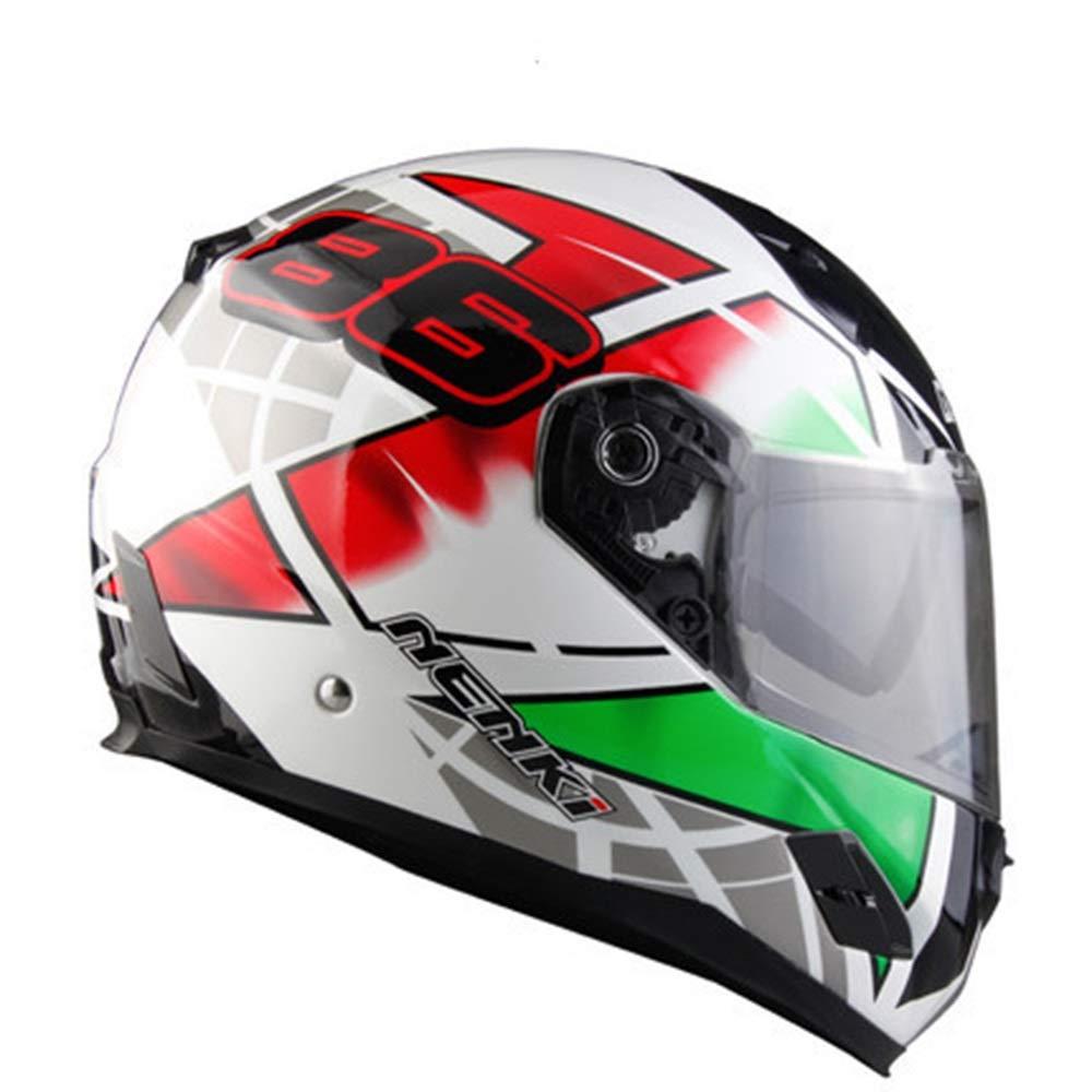 ZXF 赤と白緑の花フルカバーオートバイレーシングヘルメット男性防曇ダブルレンズFRP機関車フルフェイスヘルメットFour Seasons Universal 安全 (Size : L) Large  B07T6CMKYX