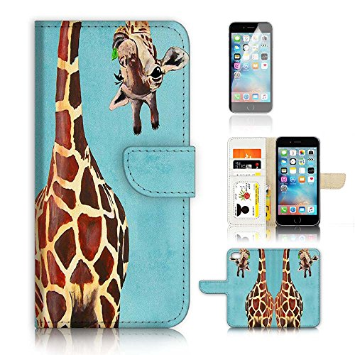 ( For iPhone 6 Plus / iPhone 6S Plus ) Flip Wallet Case Cover and Screen Protector Bundle A4131 Giraffe