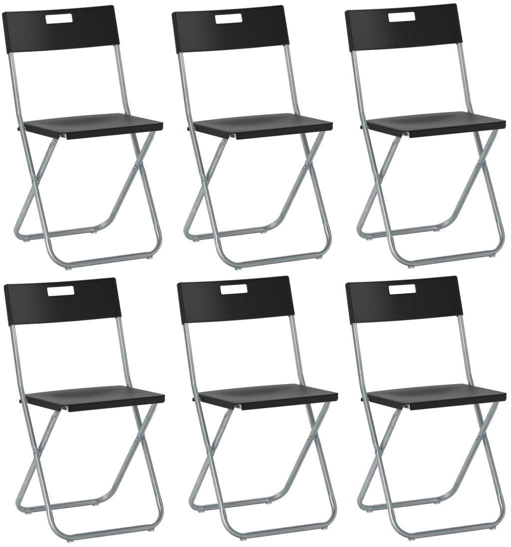 SF SAVINO FILIPPO 6 sedie Sedia Poltrona Pieghevole Nera Ikea gunde in Acciaio Ferro e Metallo per Sala Attesa casa Ospiti Cucina Salotto Campeggio Bar Ristorante Catering chiudibile richiudibile
