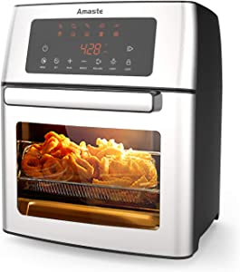 Amaste Air Fryer,16 Quart Electric Airfryer,10-in-1 Smart Cook Presets with LED Digital Touchscreen Rotisserie Oven, 1500W Countertop Oven with Adjustable Timer & Temp, Stainless Steel Air Fryer with Dishwasher Safe Accessories & Recipe