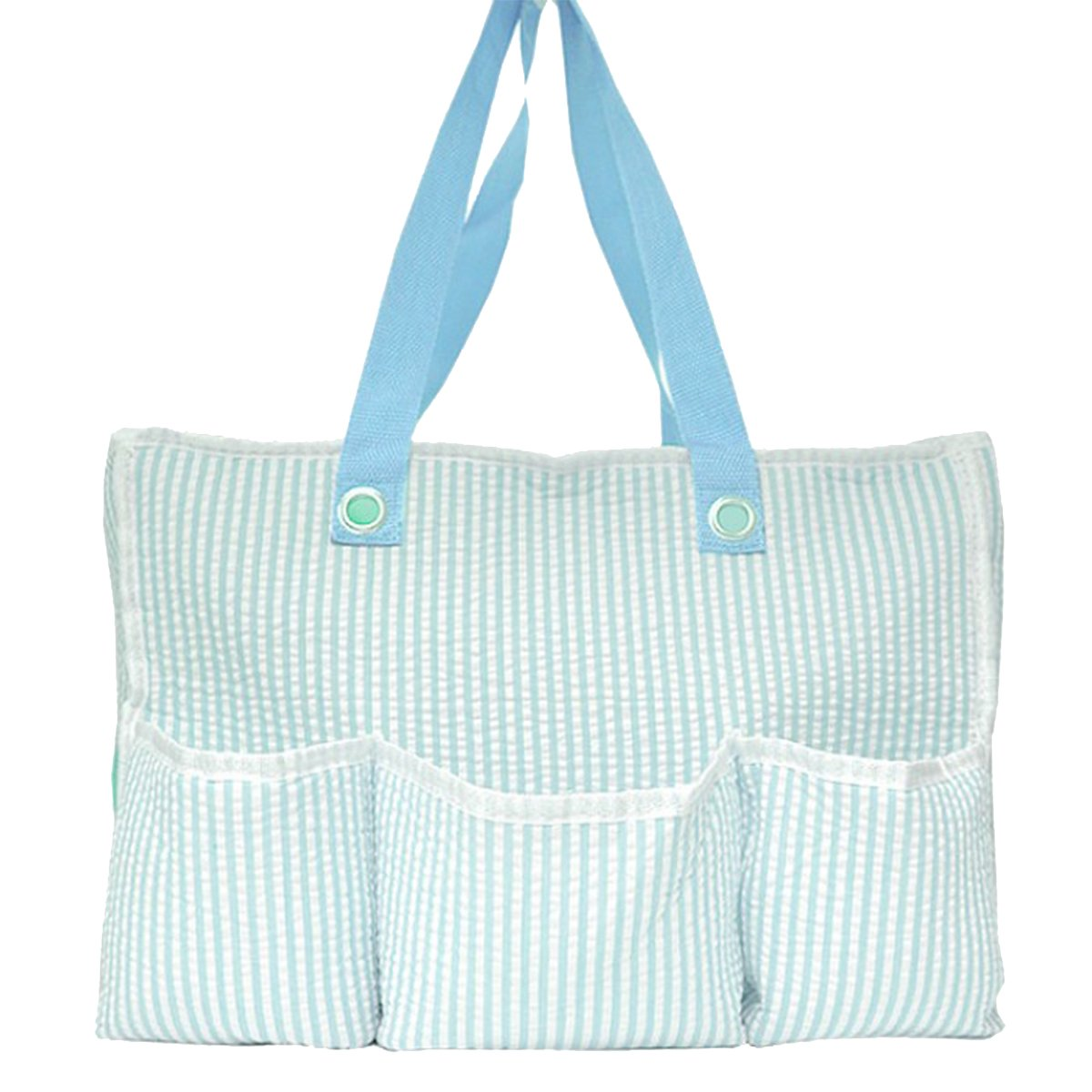 Trendy Collections Baby Blue Seersucker Diaper Bag, 16 x 11.5 Inches, Baby Blue