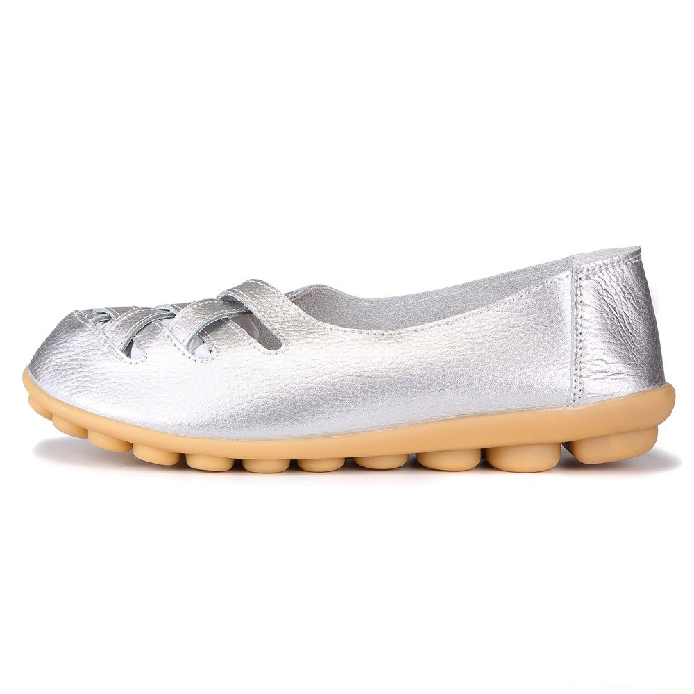 MXTGRUU Women's Casual Comfortable Walking Shoes with Criss Cross B07DJDZ72J 5.5 B(M) US|Silver