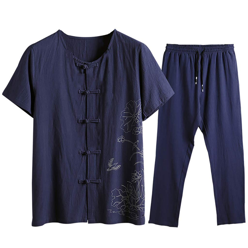 Mysky Popular Summer Men Classic National Style Print Tee Shirt Tops+Lace Up Pants Trouser Cotton-Hemp Outfit Set Navy