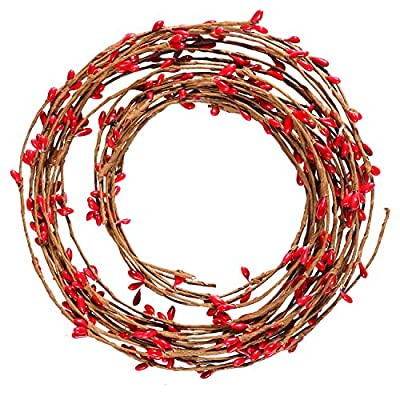Resinta Red Pip Berry Garland Red Single Ply Pip Berry Garland for Christmas Craft Décor or Celebrations Embellishing, 42 Feet