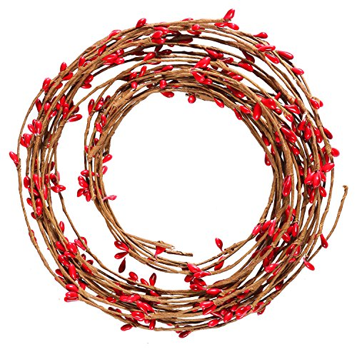 Resinta Red Pip Berry Garland Red Single Ply Pip Berry Garland for Christmas Craft Décor or Celebrations Embellishing, 42 Feet (Christmas Red Garland Berry)