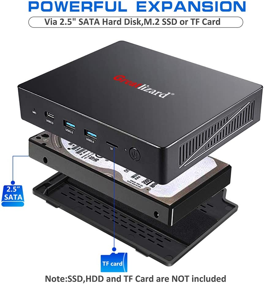 Greatlizard Mini PC Intel ApoIIO Lake Celeron J3455 Procesador 4GB ...
