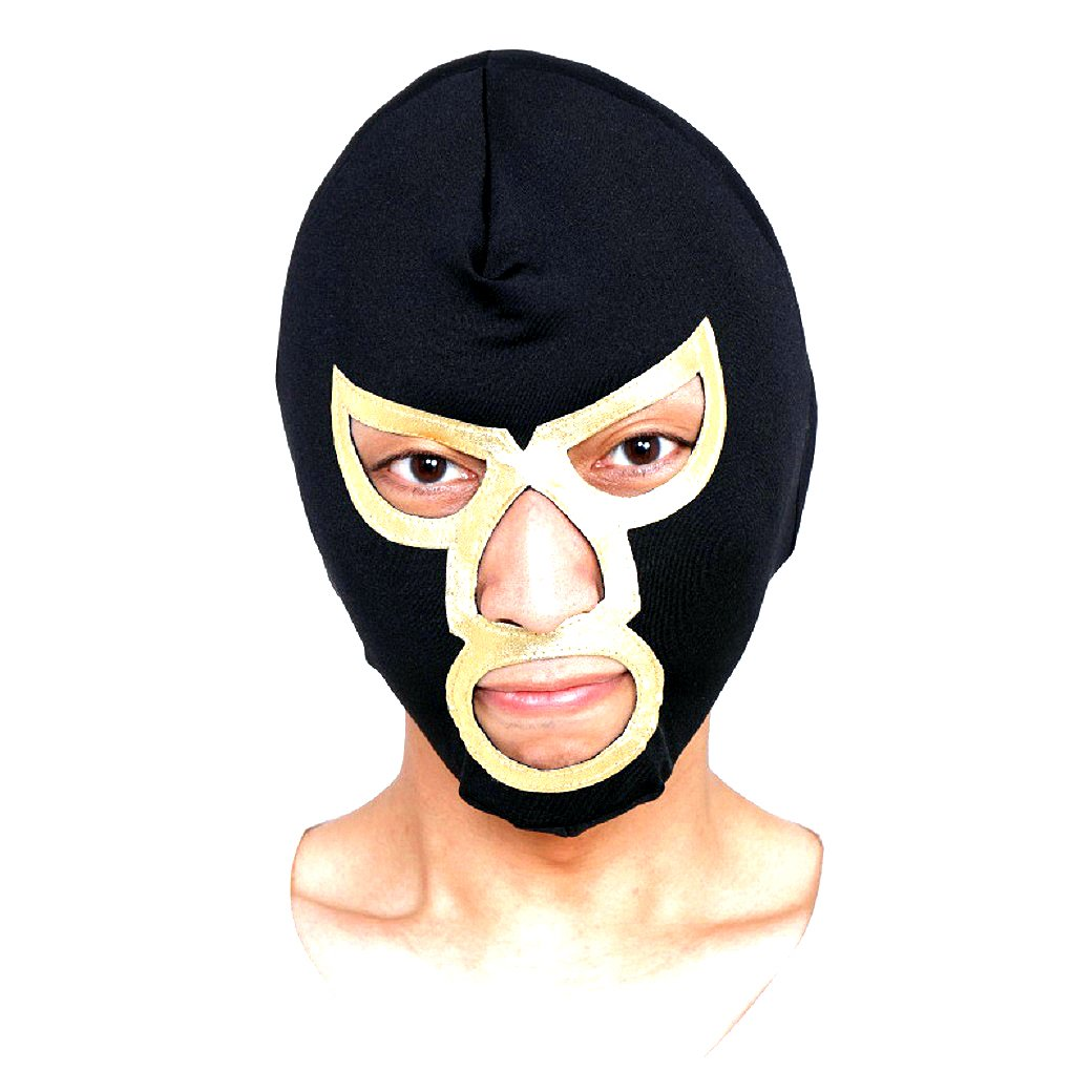 Patymo Pro Wrestling Mask - Choose from 7 Colors (Black/Gold)