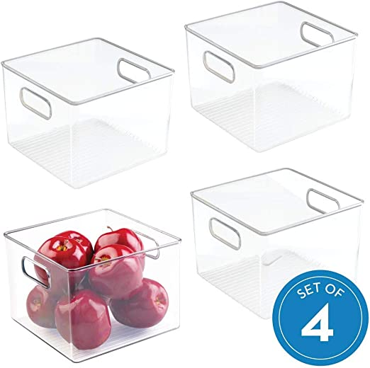 iDesign Plastic Refrigerator and Freezer Storage Bin with Lid BPA-Free Organizer for Kitchen Garage Clear 6 x 6 x 14.5 Basement
