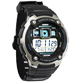 0b9d5fcaac6 Amazon.com  Casio AE-2000W-1AVCF Men s AE2000W-1AV Silver-Tone and Black  Multi-Functional Digital Sport Watch  Casio  Watches