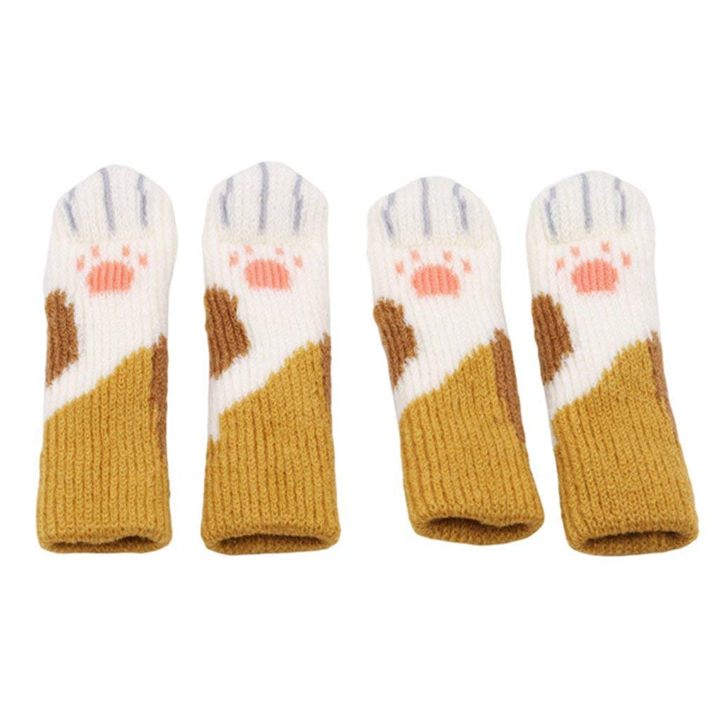 Premium Quality C1 Set 4PCS Cat Claw Slip Table And Chair Foot Protection Floor Knitted Socks,Brown pattern