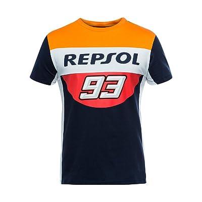 2019 Marc Marquez # 93 T-Shirt pour Homme Bleu Marine Officiel de Football Repsol Honda MotoGP Sports et Loisirs
