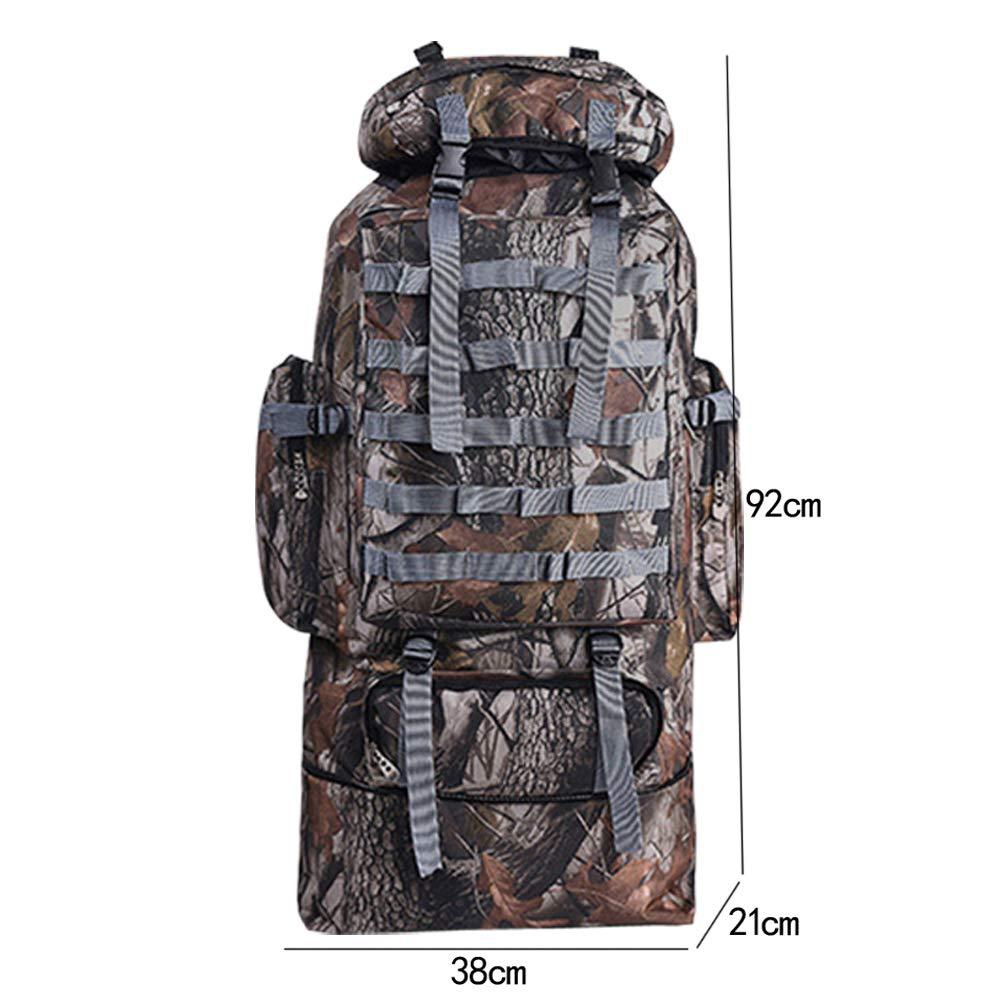100L Sac /à Dos Randonn/ée Grande Contenance Camouflage-Gris Imperm/éable Alpinisme Escalade Trekking Backpack