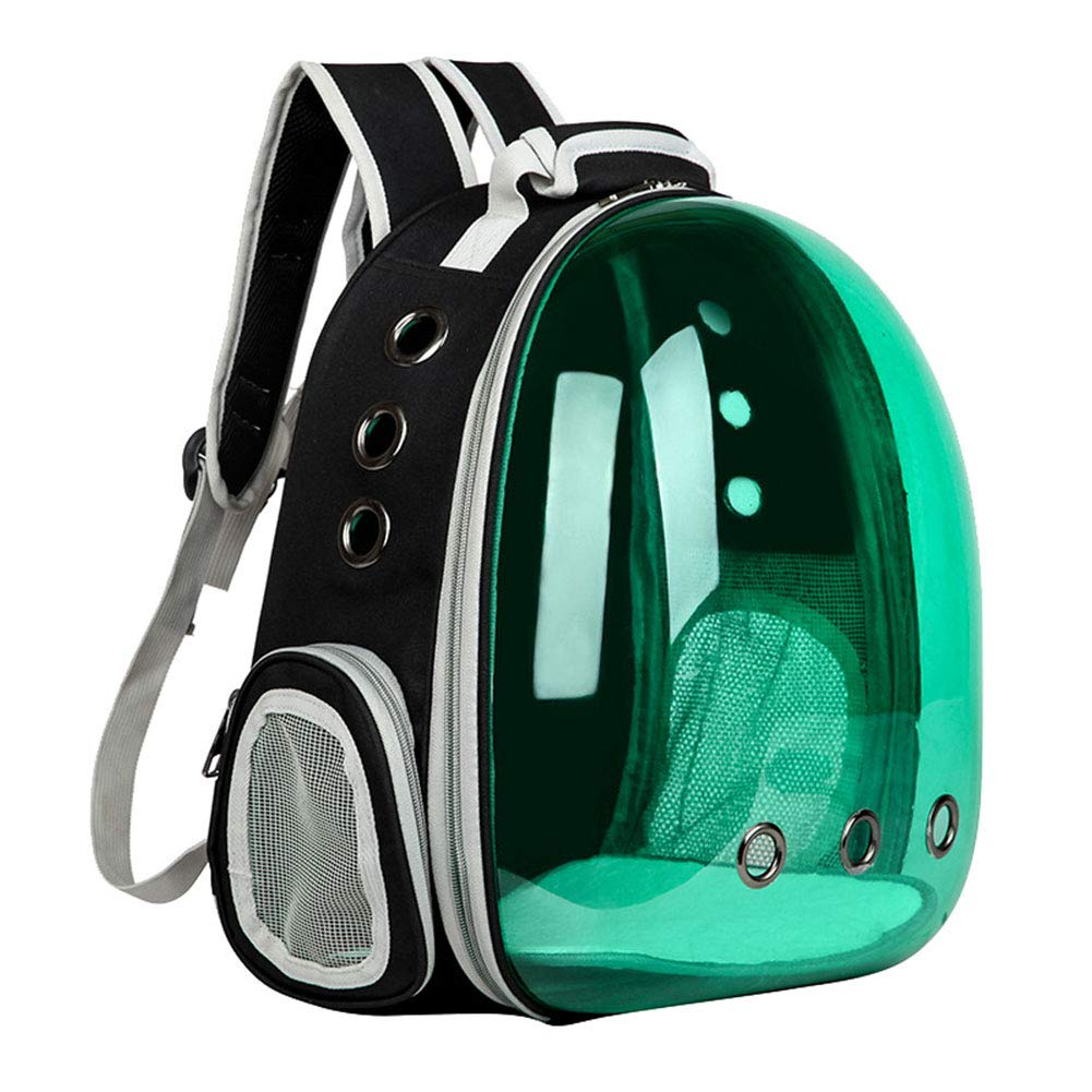 Green Cat Fashion Backpack Translucent Breathable Dog Carrier Bag Outdoor Pet Travel Carrier Bag Cat Space Capsule Carrier