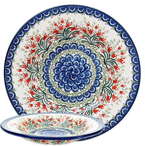 Ceramic 9.5' Garden - Polish Pottery Handmade 9.5'' Soup/Pasta Bowl Traditional Stoneware Pattern 1431