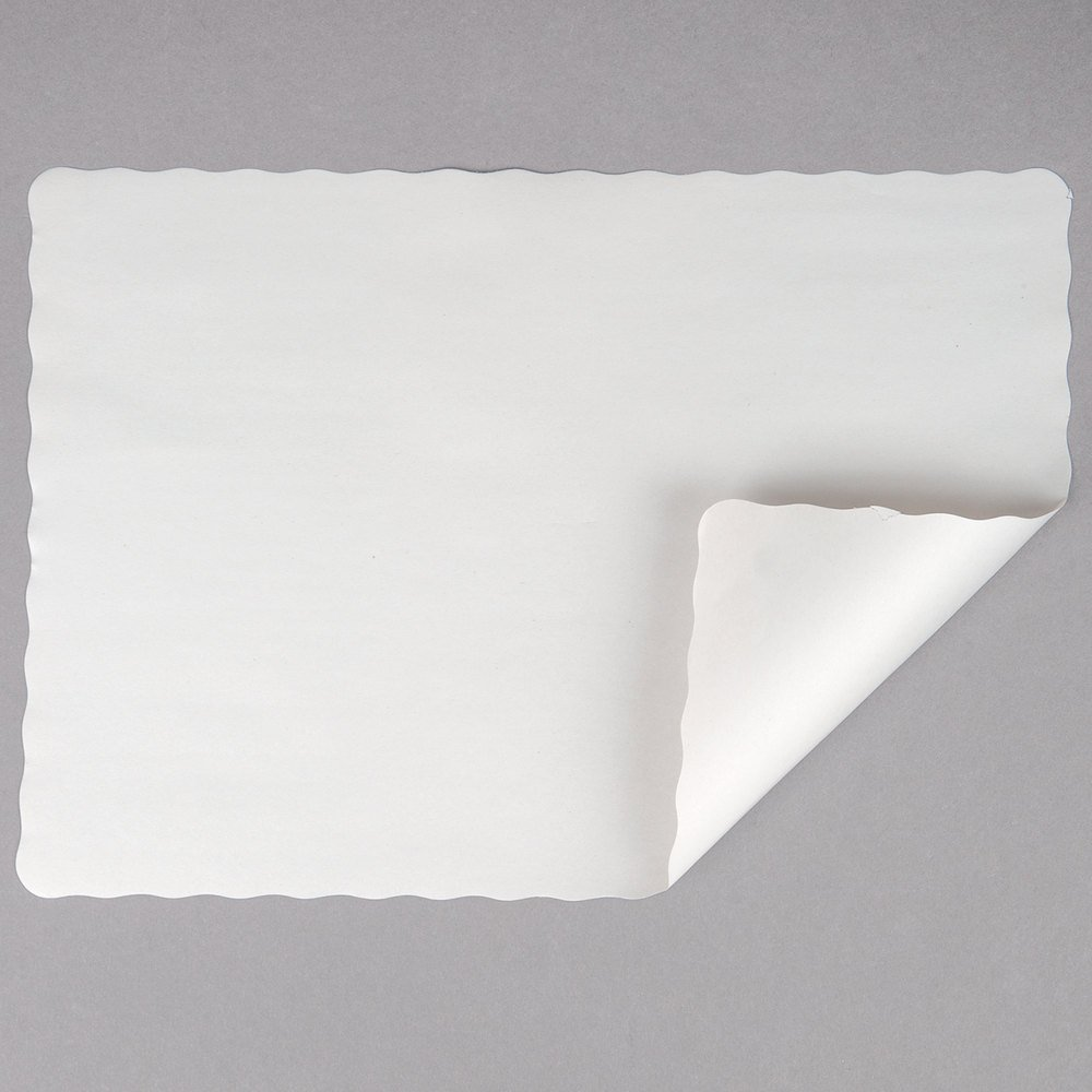 Off-White Colored Paper Placemat with Scalloped Edge - 1000/Case Size: 10'' x 14'' by TableTop King (Image #1)