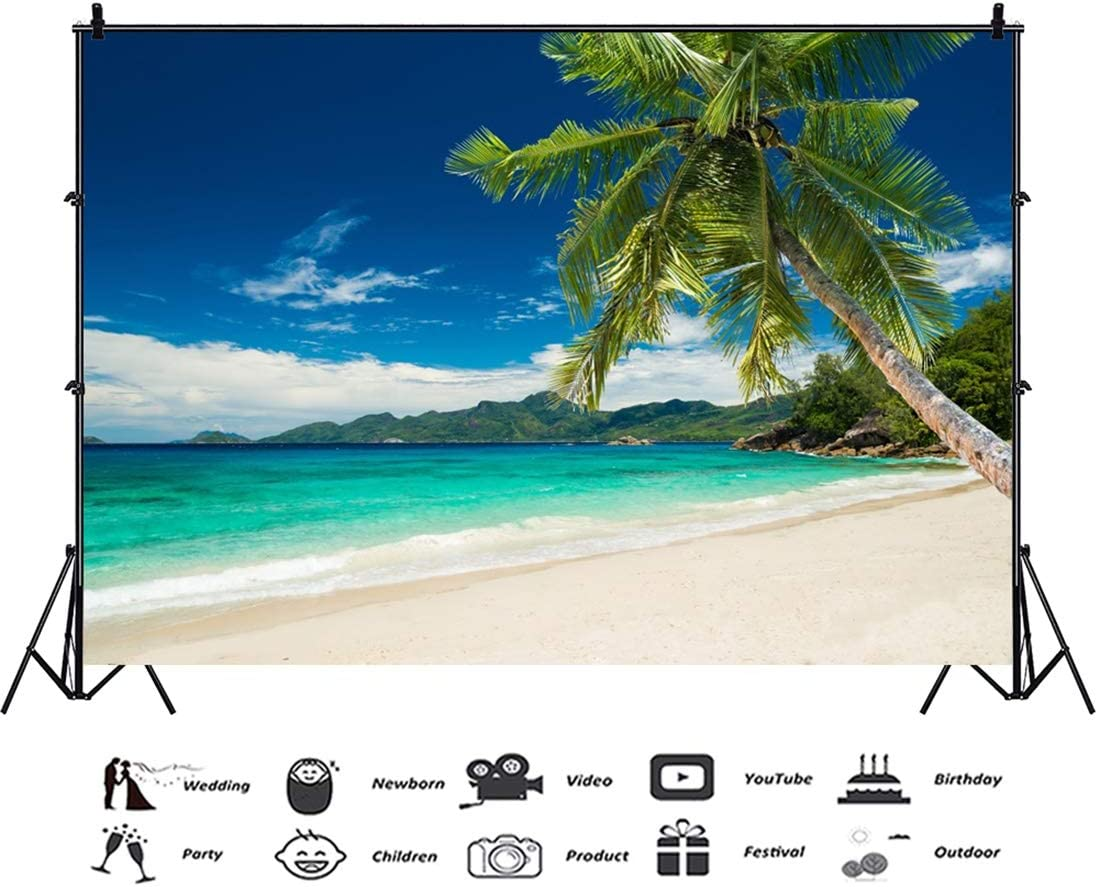 Yeele 10x8ft Seaside Photography Background Sandy Beach Palm Tree Forest Blue Sky White Cloud Wave Seawater Summer Vacation Photo Backdrop Adults Portrait