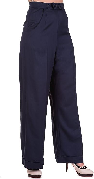 1940s Swing Pants & Sailor Trousers- Wide Leg, High Waist Banned Womens Hidden Away Plus Size Trousers £29.99 AT vintagedancer.com