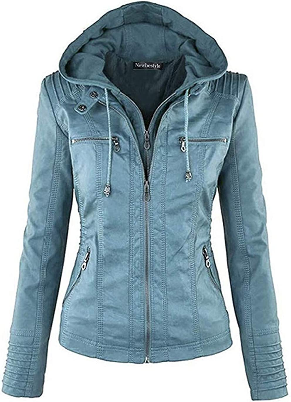 Newbestyle Jacke Damen Lederjacke Frauen Kunstlederjacke Damen mit Zip Normale EU-Gr/ö/ße