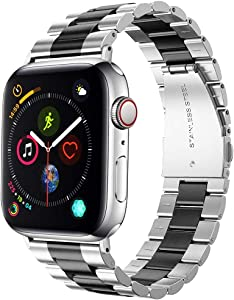 Supoix 42mm/44mm XL Large Bands Compatible with Apple Watch Series 6 5 4 SE 44mm/Series 3 2 1 42mm,Stainless Steel Metal Link Replacement Wristbands Strap for Men-Silver Black