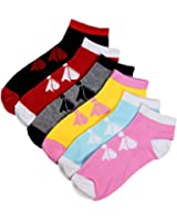 Six Pack Adorable Ribbon Print Assorted Multicolor Ankle Socks