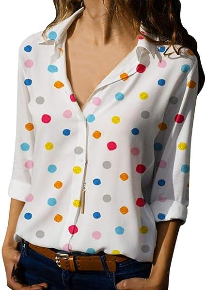 Blusa De Las Mujeres,Jessboy Camisa Holgada De Verano De Lunares De Mujer Camiseta De Manga Larga Blusa: Amazon.es: Oficina y papelería