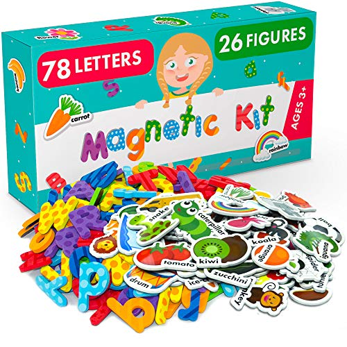 Magnetic Letters and Foam Magnets for Toddlers and Kids - Alphabet Magnets for Fridge and Dry Erase Board - Baby Magnets with Zoo and Farm Animals - Educational Toy for ()