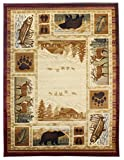 Rugs 4 Less Collection Wilderness Nature Themed Cabin Style Area Rug Design R4L 750 (5'X7')