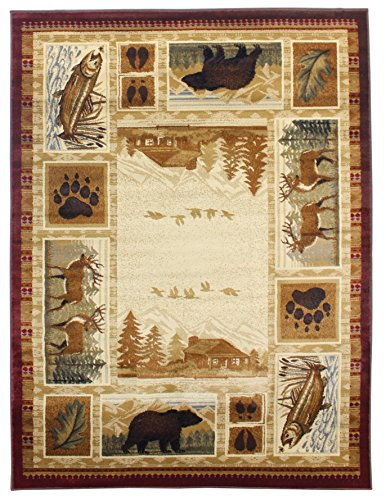 Rugs 4 Less Collection Wilderness Nature Themed Cabin Style Area Rug Design R4L 750 (5'X7') by Rugs 4 Less