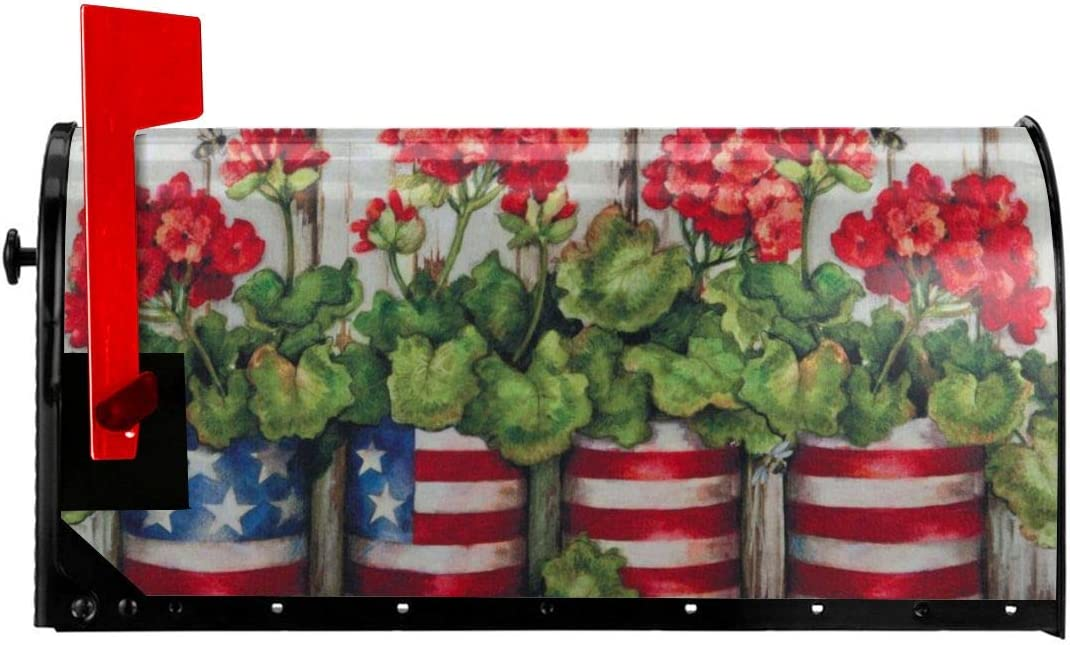 Foruidea Glory Garden Mailbox Covers Magnetic Mailbox Wraps Patriotic Post Letter Box Cover Standard Oversize 21 X 18 Makover MailWrap Garden Home Decor