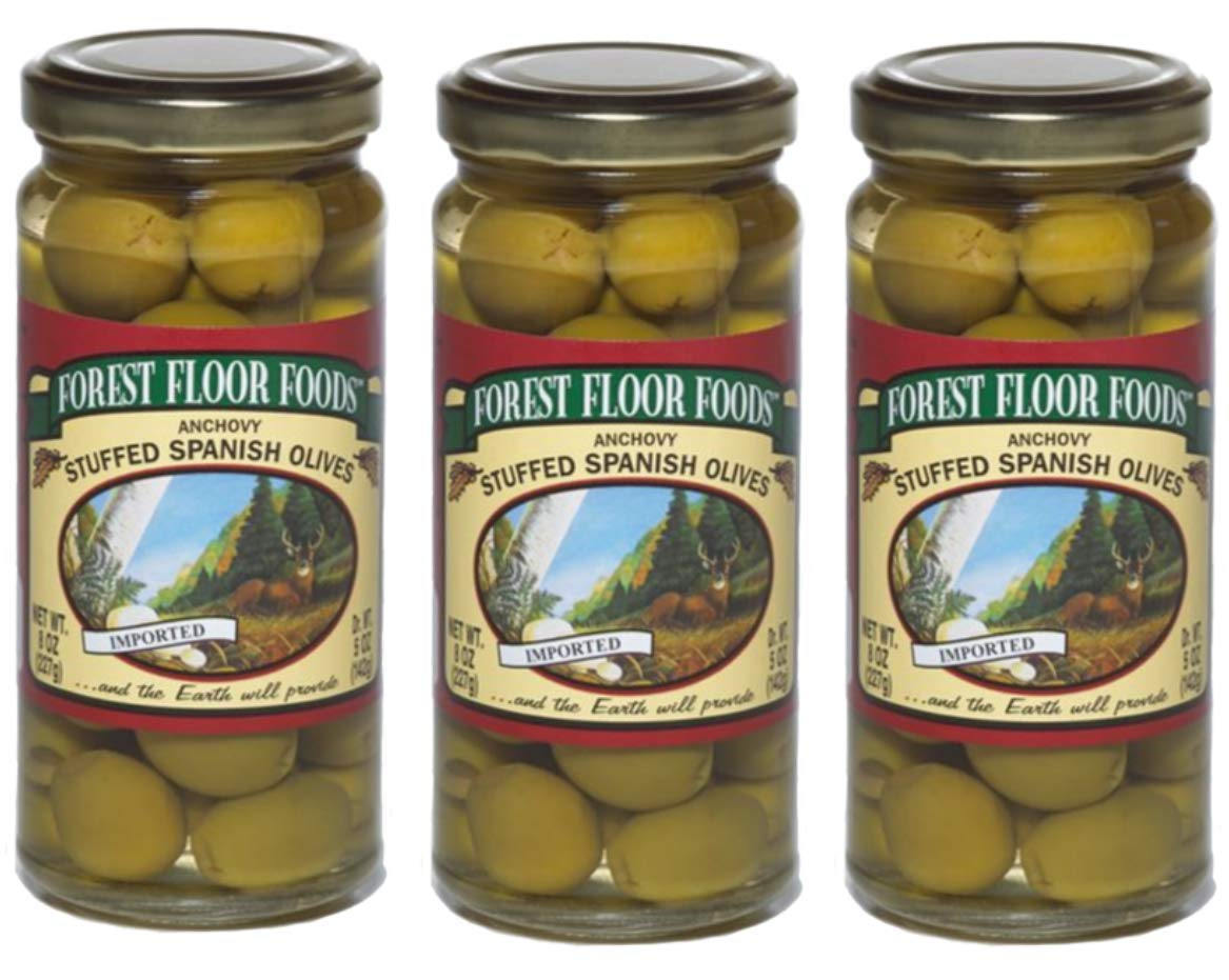 Specialty Stuffed Olives | Anchovy Stuffed Spanish Olives | 8 Ounce | Pack of 3