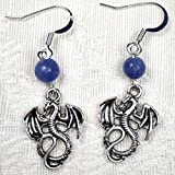 Silver Tone Dragon & Blue Sodalite Bead Earrings, Mother of Dragons Game of Thrones Fan Lucky Gift