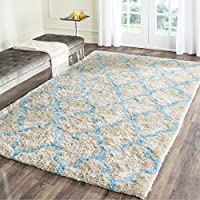 Safavieh Barcelona Shag Collection BSG319K Handmade Cream and Blue Polyester Area Rug (4 x 6)