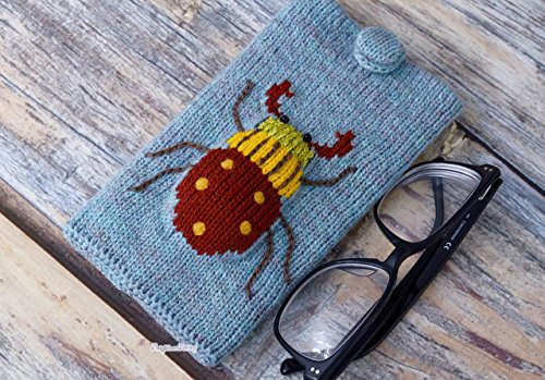 Eyeglasses case, knitted beetle, nice gift, sunglasses holder, smartphone sleeve, eyeglass cover, device protection, phone purse, knit - Eyeglasses Nice