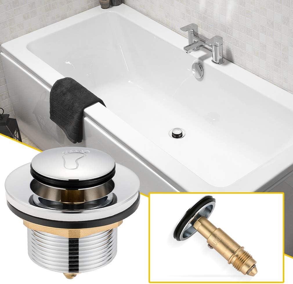 Synlyn Universal G1/½ Badewannen Ablaufgarnitur Abfluss St/öpsel Badewannenst/öpsel Verchromt Kupfer Pop-Up Ventil mit Fu/ß-Muster f/ür Jede handels/übliche Badewanne