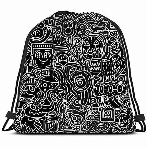 halloween pattern pumpkin cat bat ghostart holidays Gym Sack Bag Drawstring Sport Beach Travel Outdoor Backpack for Women 17X14 Inch]()