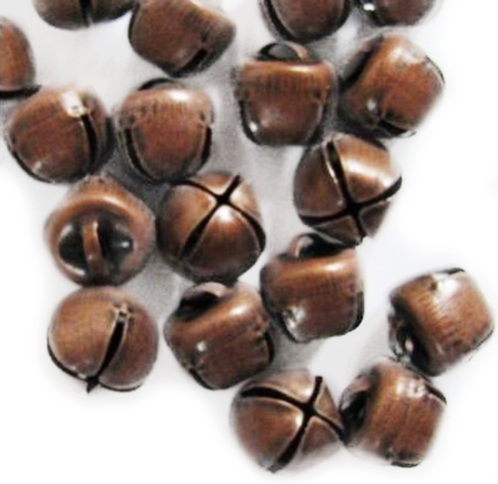 ZaZaTool 100 PCS Antique Copper Finish Jingle Bells 10mm - 11mm Primitive Steampunk New