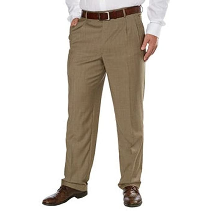 b27eac8e8fae Image Unavailable. Image not available for. Color: Kirland Signature Men's  Wool Pleated Pants ...