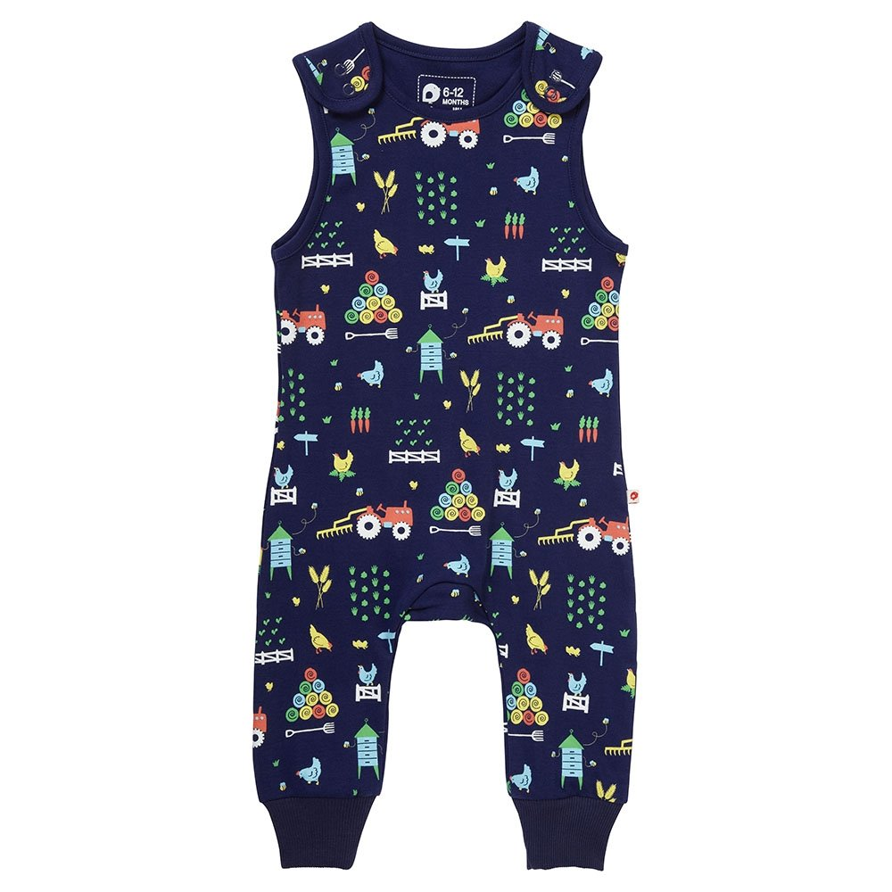 Piccalilly Jersey Kids Dungarees Premium Organic Cotton Navy Blue Farm Print