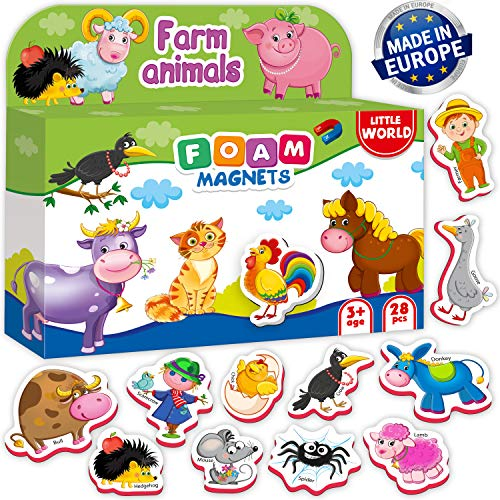 Little World 28 Foam Magnetic Farm Animals for Toddlers and Kids, Large Refrigerator Magnets for Babies Age 3+. The Best Educational Set for Infant and Children