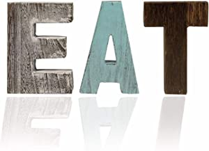 Rustic Wood EAT Sign or TEA Sign, Kitchen Restaurant Wall Decor Art Wall Mount or as Free Standing Wooden Word Table Signs for Dining Room, Eatery Home Decor