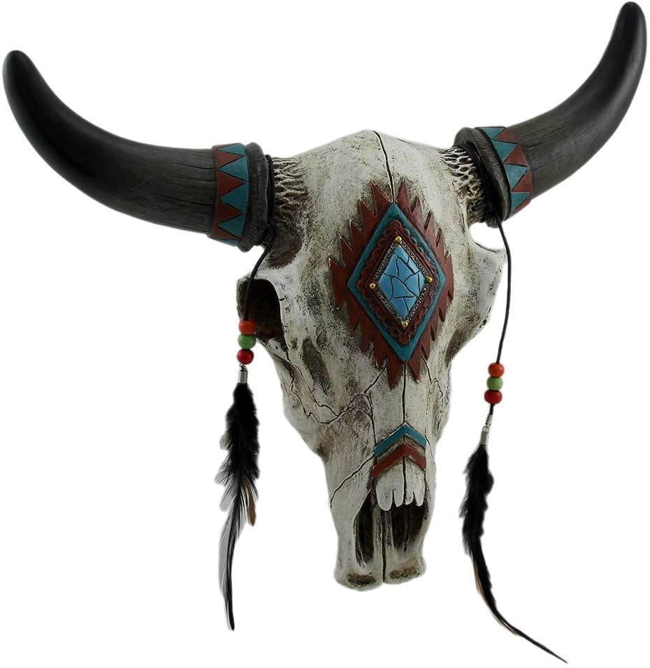 DeLeon Collections Rustic Southwest Bull Skull with Feathers, Beads Faux Turquoise Stone – Wall Hanging